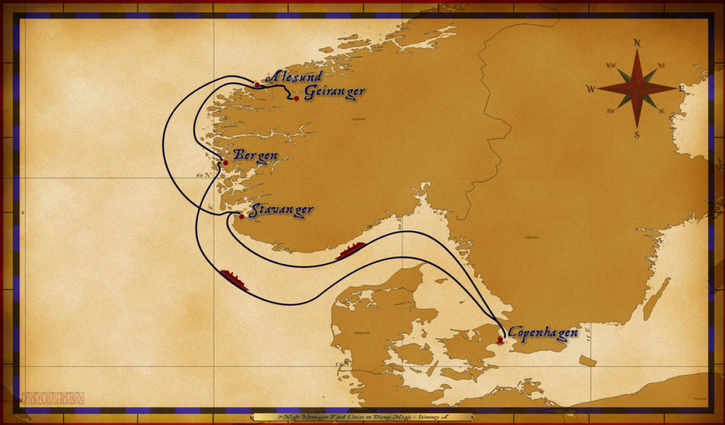 Map Magic 7 Night Norwegian Fjords Cruise Itinerary A