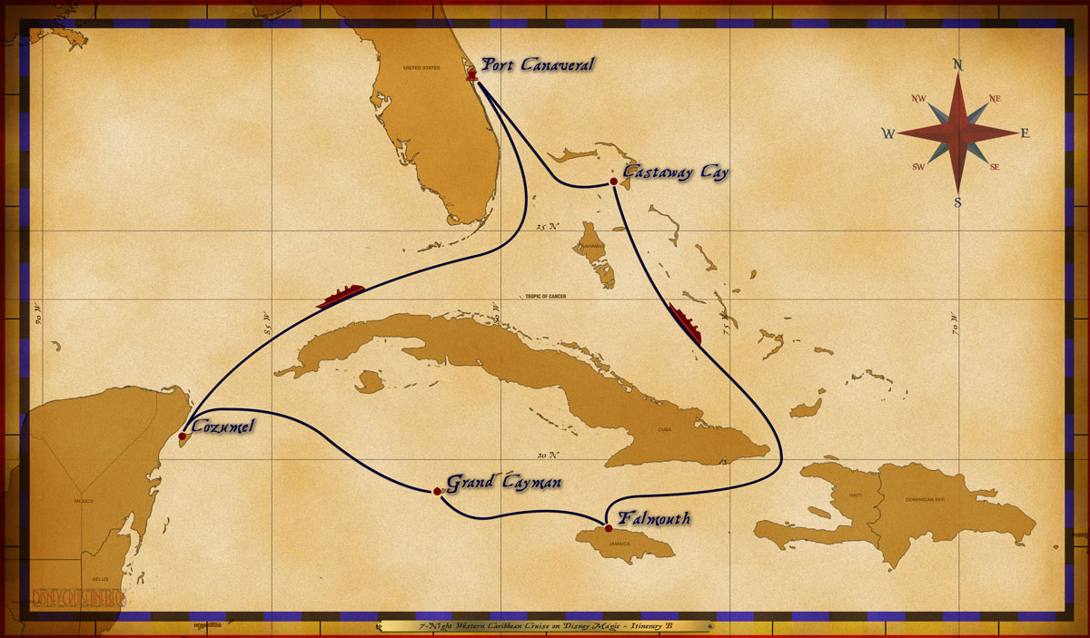 Map Magic 7 Night Western Caribbean Cruise Itinerary B