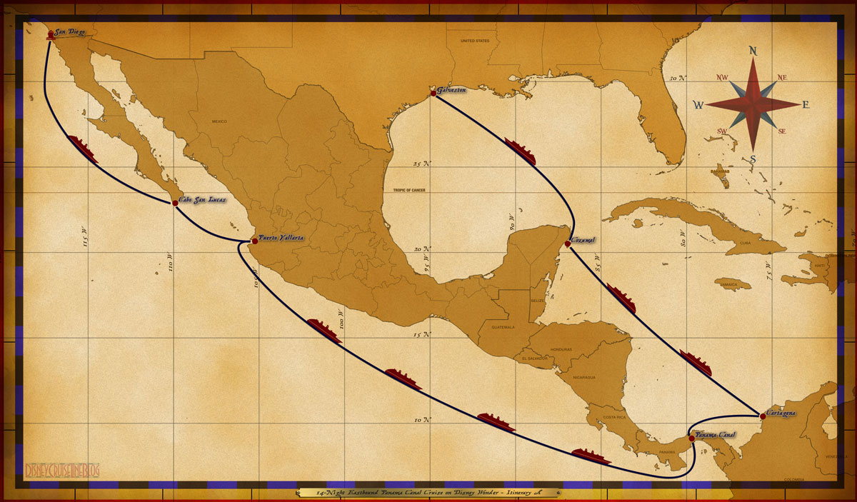 Map Wonder 14 Night Eastbound Panama Canal Cruise Itinerary A
