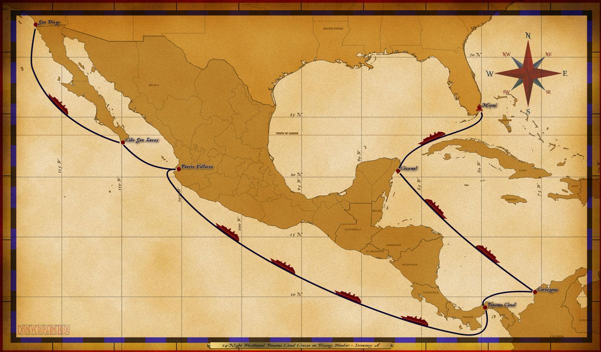 Map Wonder 14 Night Westbound Panama Canal Cruise Itinerary A