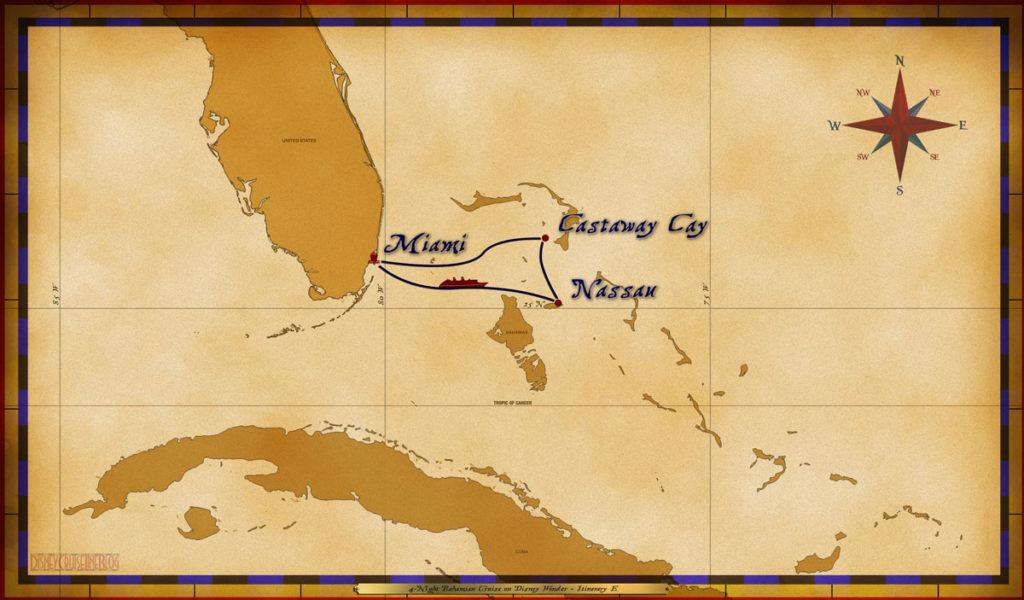 Map Wonder 4 Night Bahamian Itinerary E