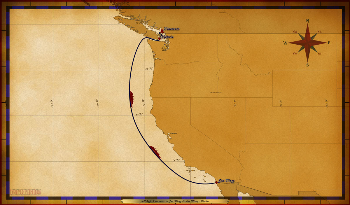 Map Wonder 4 Night Vancouver To San Diego Cruise