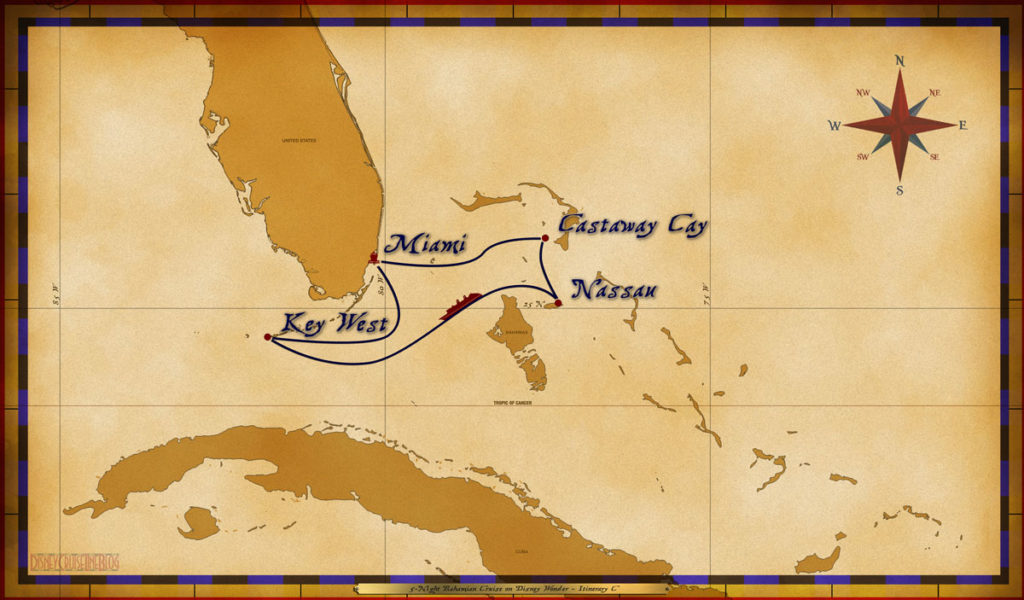 Map Wonder 5 Night Bahamian Itinerary C
