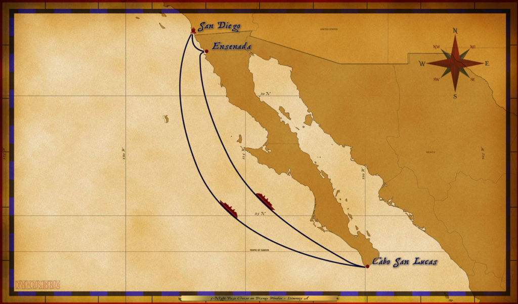Map Wonder 5 Night Baja Itinerary A