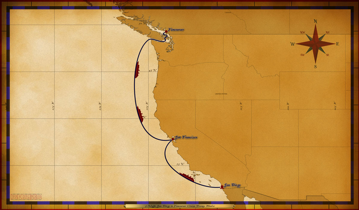 Map Wonder 5 Night San Diego To Vancouver Cruise