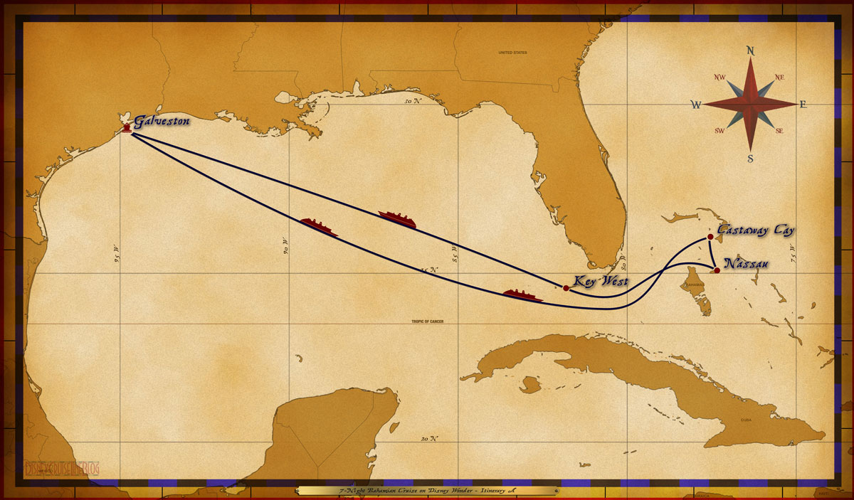 Map Wonder 7 Night Bahamian Itinerary A