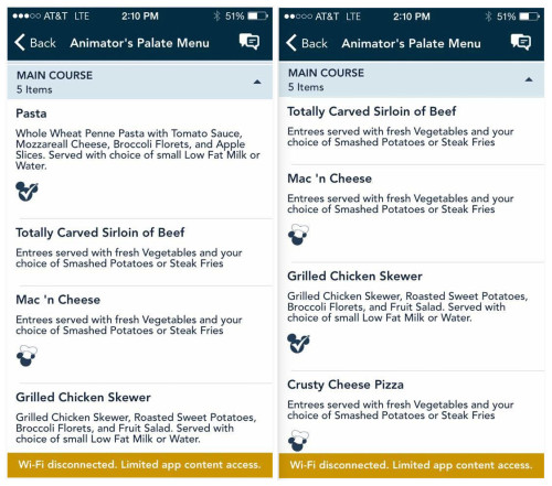 DCL Mickey Check Navigator App Childrens Menu