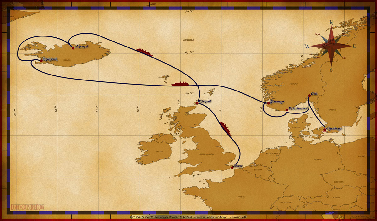 Map Magic 11 Night North Norwegian Fjords And Iceland Cruise On Disney Magic Itinerary A Rev B