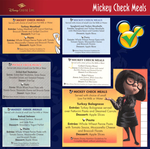 Mickey Check Childrens Menus Magic February 2015 Sample Dishes