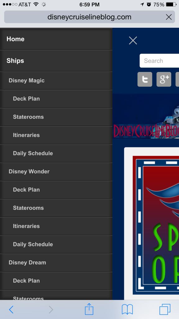 DCL Blog Theme IPhone 6 Plus Mobile Menu