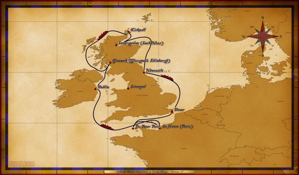 Map Magic 12 Night British Isles Cruise On Disney Magic Itinerary A