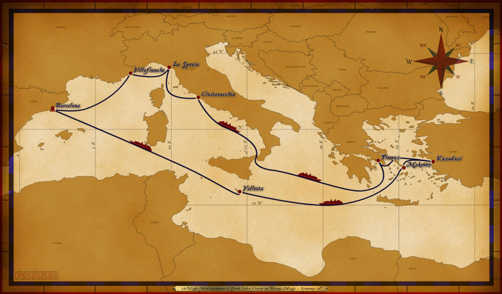 Map Magic 12 Night Mediterranean & Greek Isles Cruise On Disney Magic Itinerary A