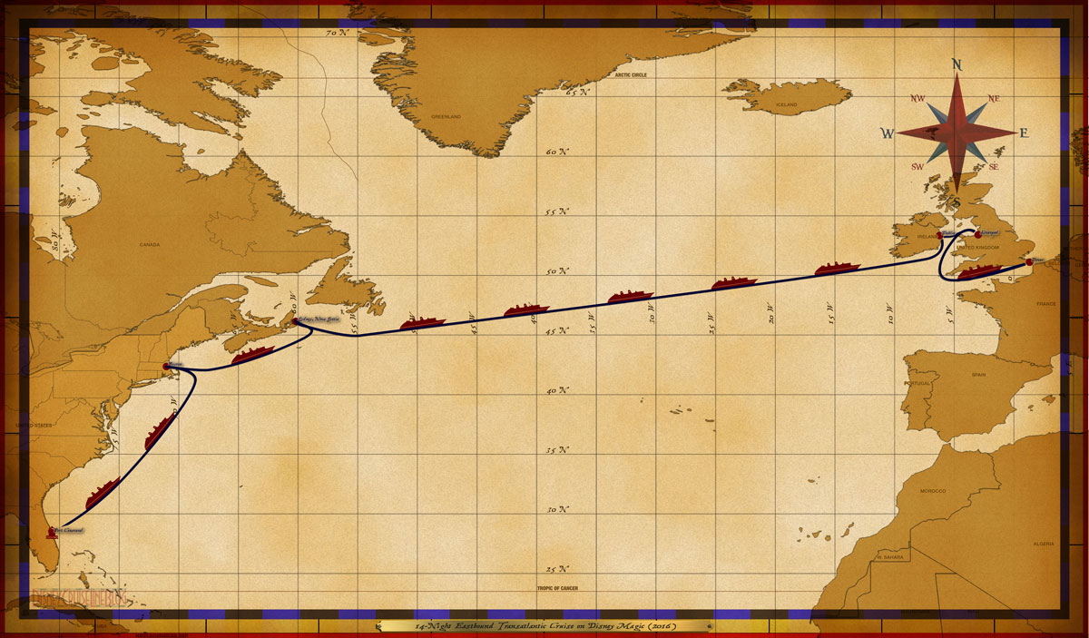 Map Magic 14 Night Eastbound Transatlantic Itinerary 2016