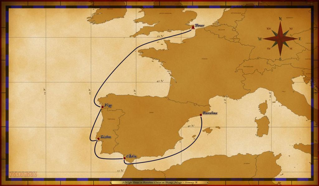 Map Magic 7 Night Dover To Barcelona Cruise On Disney Magic Itinerary B