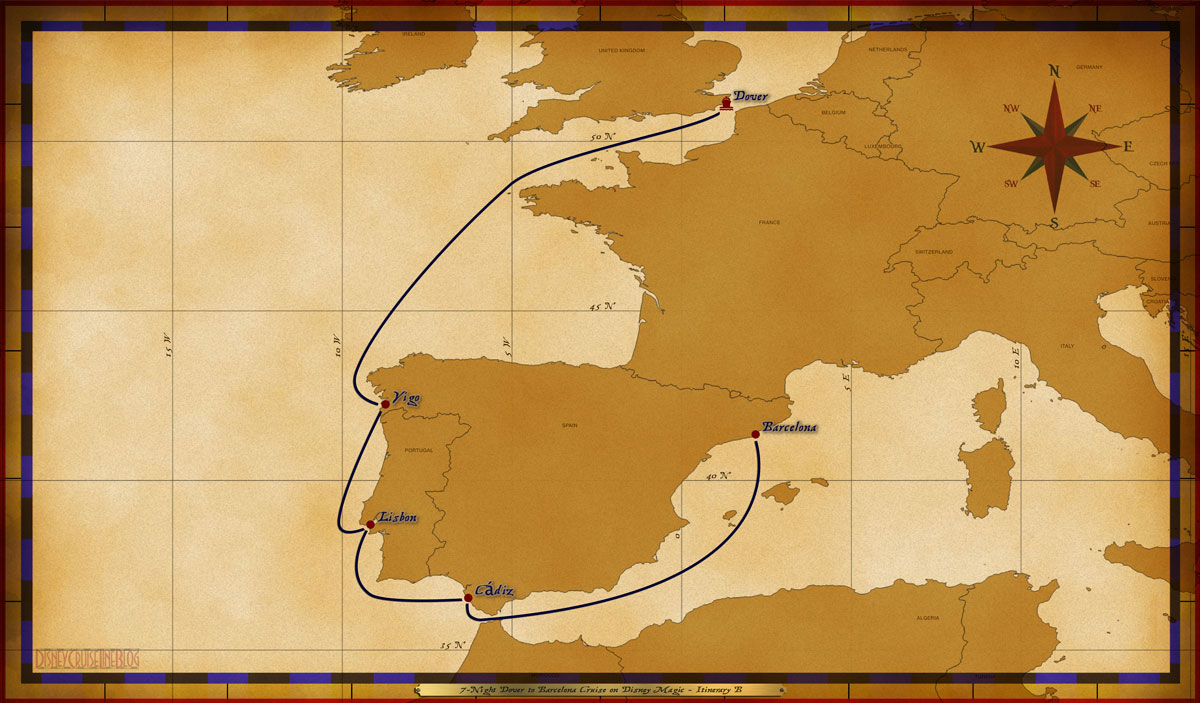Map Magic 7 Night Dover To Barcelona Cruise On Disney Magic Itinerary B