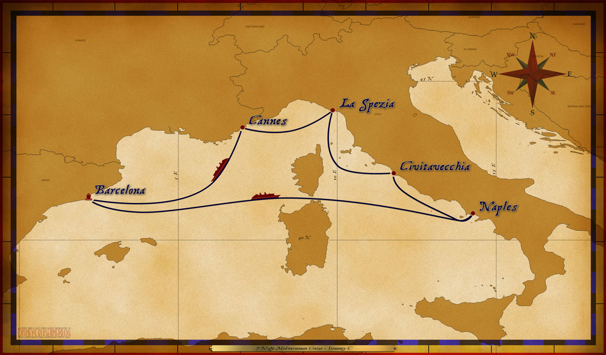 Map Magic 7 Night Mediterranean Cruise Itinerary C