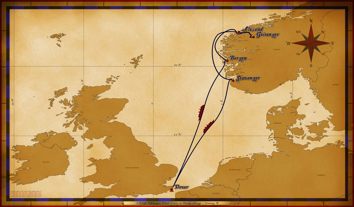 Map Magic 7 Night Norwegian Fjord Cruise On Disney Magic Itinerary B