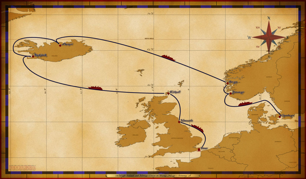 Map Magic1 2 Night Iceland And Norway Cruise On Disney Magic Itinerary A