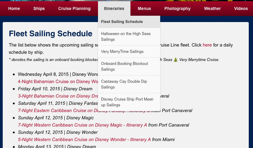 DCLBlog Fleet Sailing Schedule Screenshot
