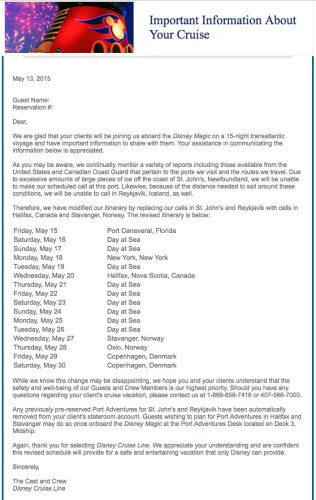 DCL 2015 Magic EBTA Itinerary Change Letter