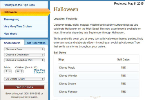 DCL Halloween Sailings 2015 TBD May 2015
