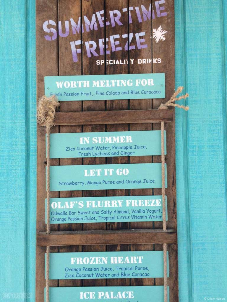 DCL Summertime Freeze Frozen Specialty Drink Menu