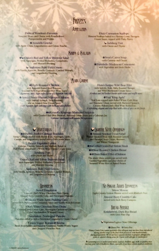 Freezing The Night Away Frozen Complete Dinner Menu Magic July 2