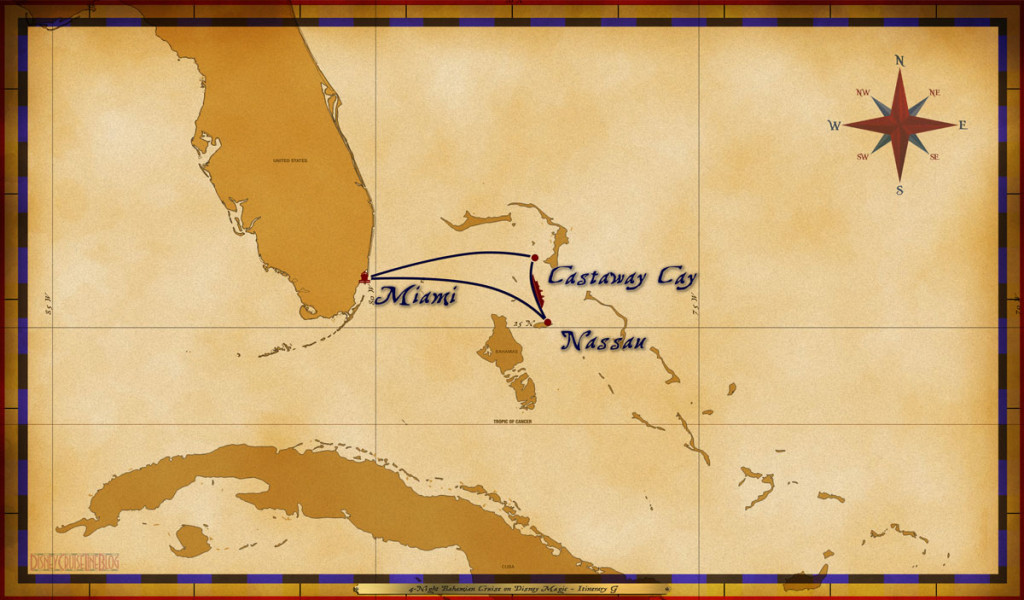 Magic Map 4 Night Bahamian Cruise On Disney Magic Itinerary G