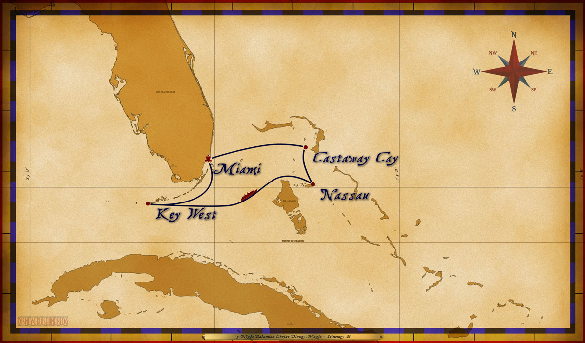 Magic Map 5 Night Bahamian Cruise Disney Magic Itinerary E