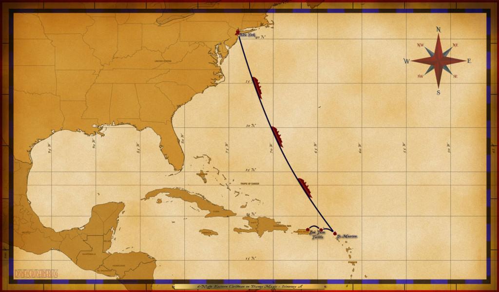 Magic Map 6 Night Eastern Caribbean On Disney Magic Itinerary A