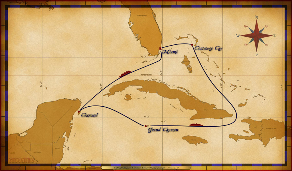 Magic Map 6 Night Western Caribbean Cruise Disney Magic Itinerary B