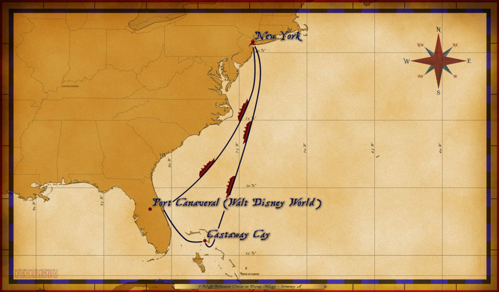 Map Magic 7 Night Bahamian Cruise On Disney Magic Itinerary A