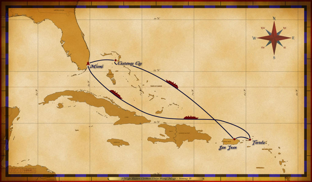 Magic Map 7 Night Eastern Caribbean Cruise Disney Magic Itinerary D