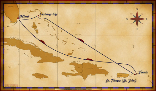 Magic Map 7 Night Eastern Caribbean Disney Magic Itinerary C