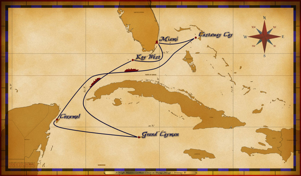 Magic Map 7 Night Western Caribbean Cruise On Disney Magic Itinerary D