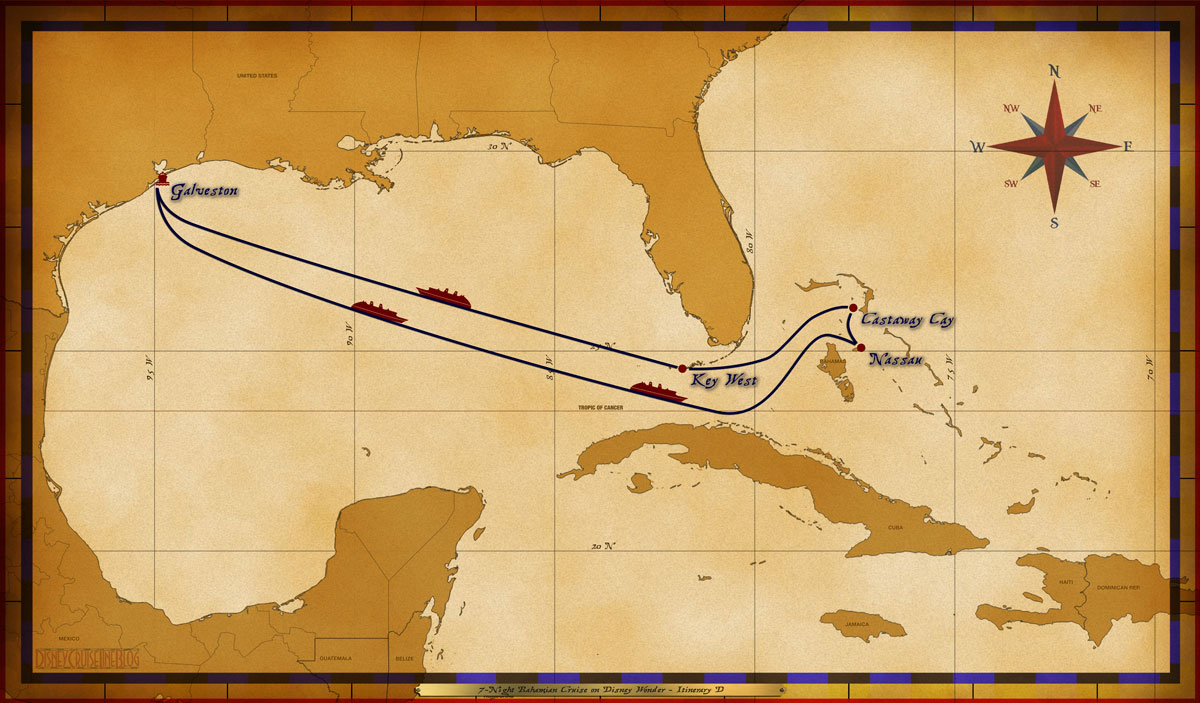 Map Wonder 7 Night Bahamian Cruise On Disney Wonder Itinerary D