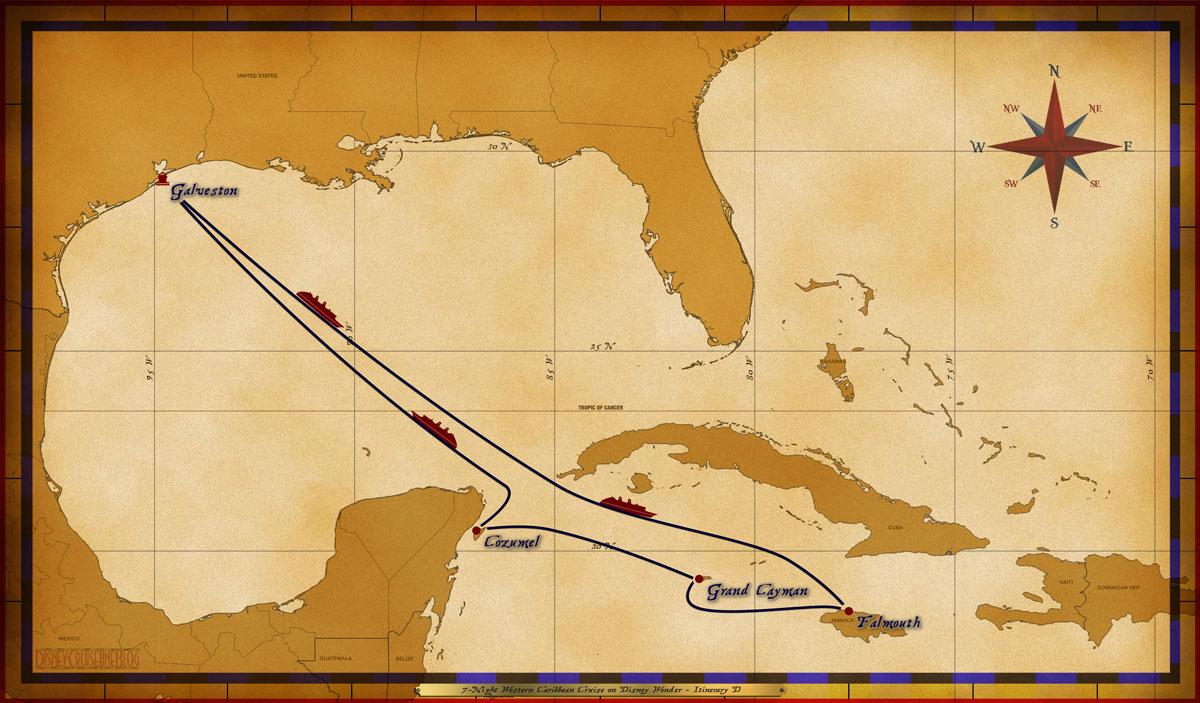 Map Wonder 7 Night Western Caribbean Cruise On Disney Wonder Itinerary D