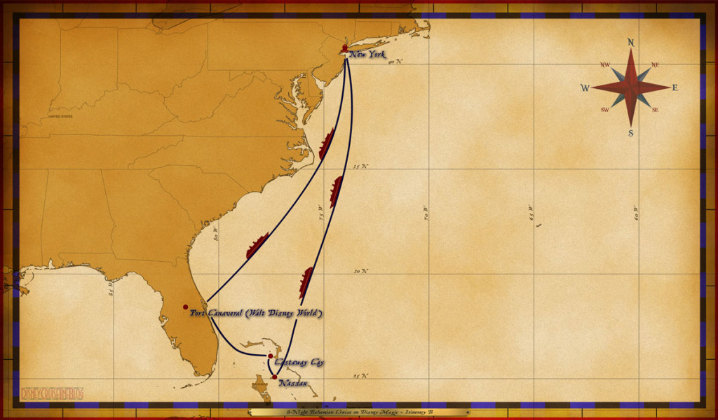 Map Magic 8 Night Bahamian Cruise On Disney Magic Itinerary B