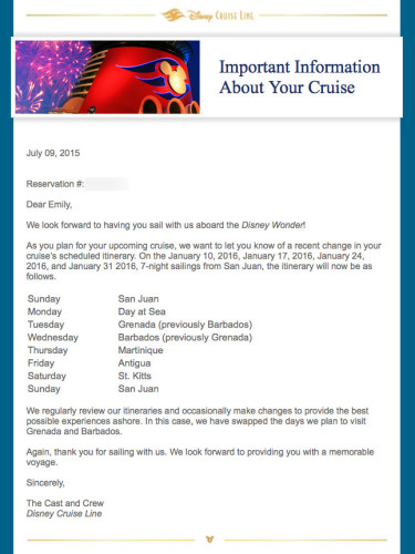 DCL Southern Itinerary Change Disney Wonder January 2015