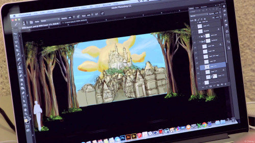 DCL Tangled Musical Set Theatre Castle Mockup