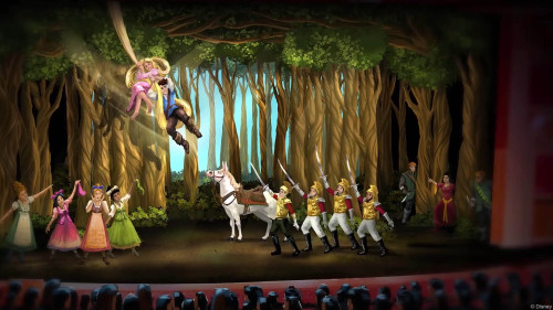 DCL Tangled Musical Set Theatre Forest Mockup