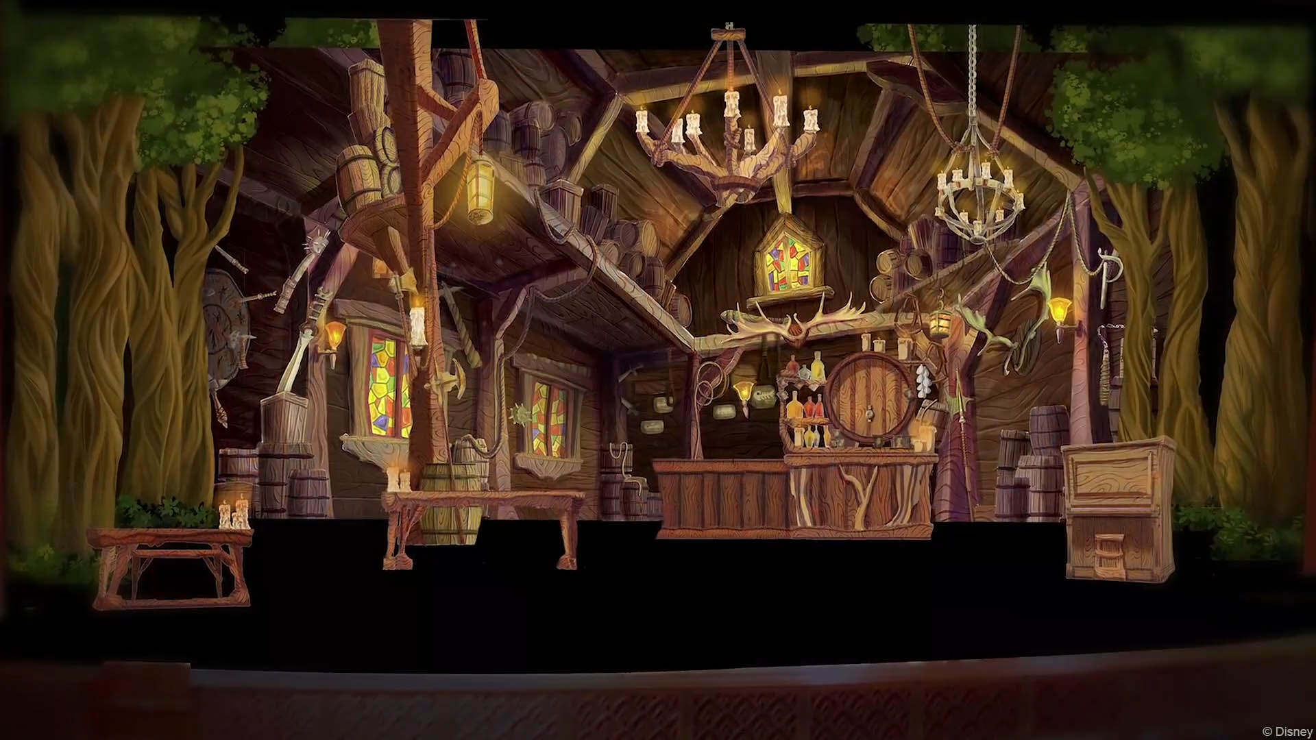 a closer look at the set designs for tangled the musical the disney cruise line blog. Black Bedroom Furniture Sets. Home Design Ideas