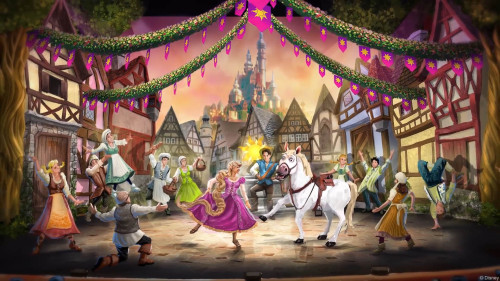 DCL Tangled Musical Set Theatre Town Celebration Mockup