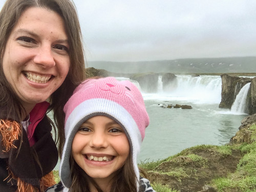 Family Photo Godafoss Waterfall Akureyri Iceland
