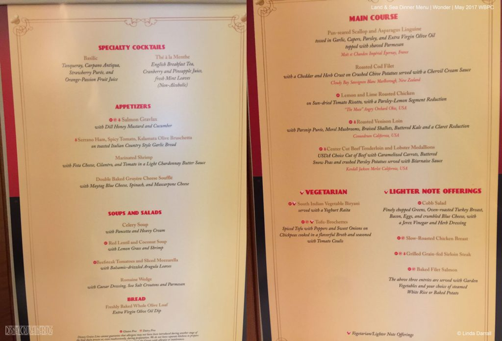 Land Sea Dinner Menu Wonder May 2017