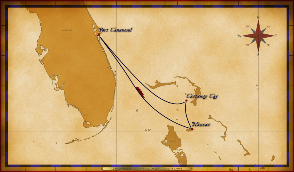 Map Magic 4 Night Bahamian Cruise Itinerary A 1998
