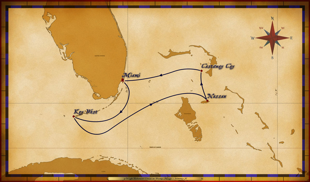 Map Magic 4 Night Bahamian Cruise Itinerary H