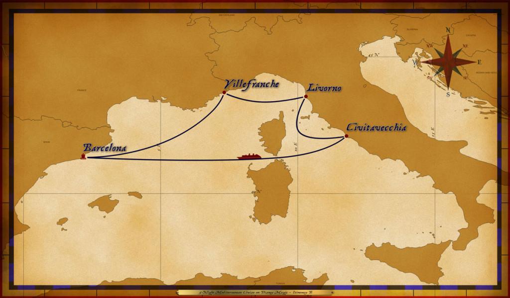 Map Magic 5 Night Mediterranean Cruise Itinerary B