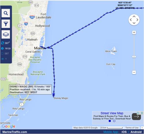 DCL Magic Hurricane JOAQUIN Key West Map