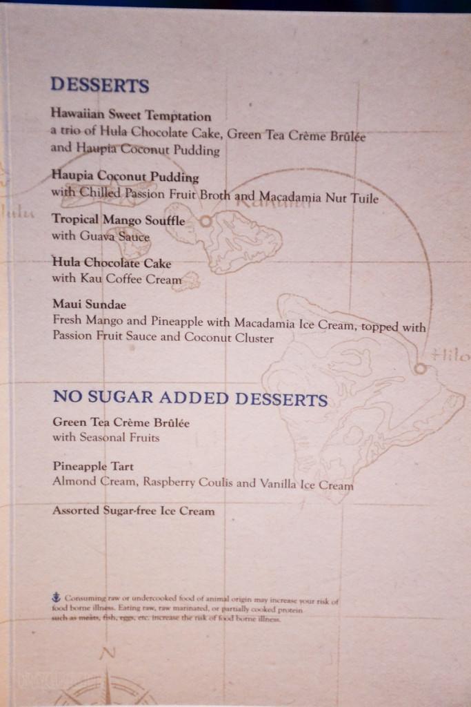 Hawaii Aloha Menu Dessert Wonder 2015